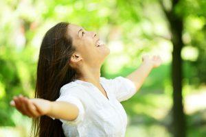 Happy balanced woman energy wellbeing